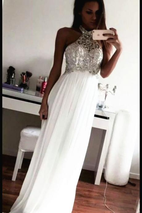 High Neck Halter Beading Prom Dress,White Chiffon Long Prom Dresses