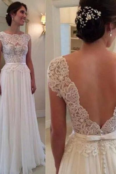 Floor-Length Backless Prom Dress,Sheer White Chiffon Prom Dresses