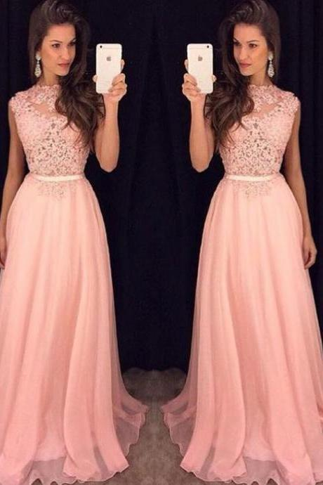 Long Chiffon Dress With Applique,Sweet Pink Prom Dresses,Dress For Prom