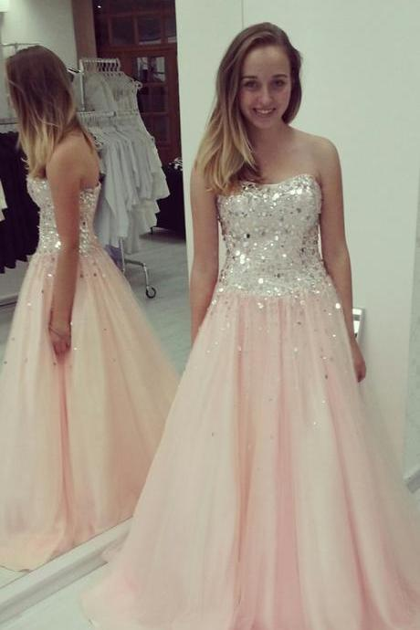 A-Line Prom Dress,Chiffon Strapless Prom Dress, Foor Length Sequined Prom Dresses