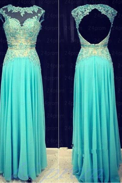 ace Blue Applique Backless Prom Dress,Open Back Long Prom Dresses
