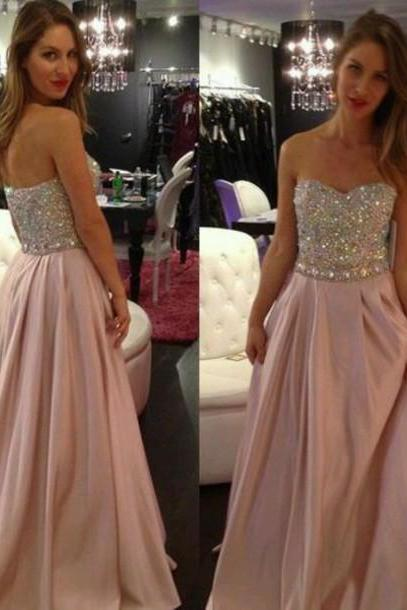 Pink Simple Sweetheart Prom Dresses,Floor Length Beadings Chiffon Prom Dresses