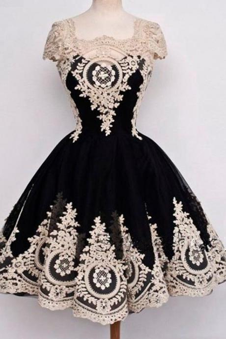 Elegant Appliques Black Homecoming Dress,Short Homecoming Dresses,Prom Dress