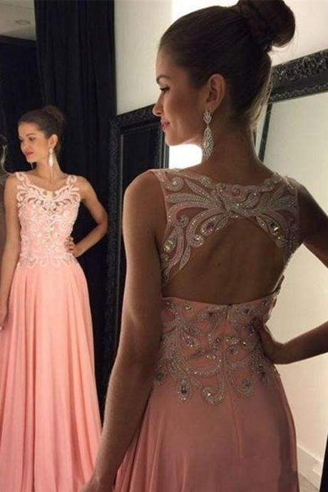 Scoop Sleeveless Backless Prom Dress,Pink Chiffon Crystal Prom Dresses,Dress For Prom