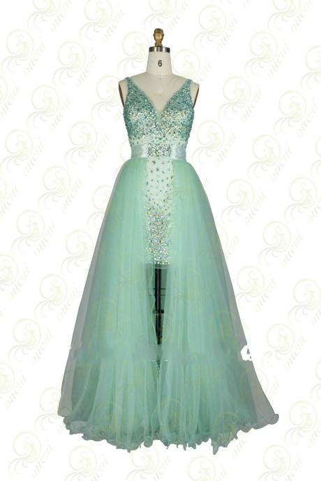 Spaghetti Straps Beaded Prom Dress,Dresses For Prom ,Long Green Chiffon Prom Dress
