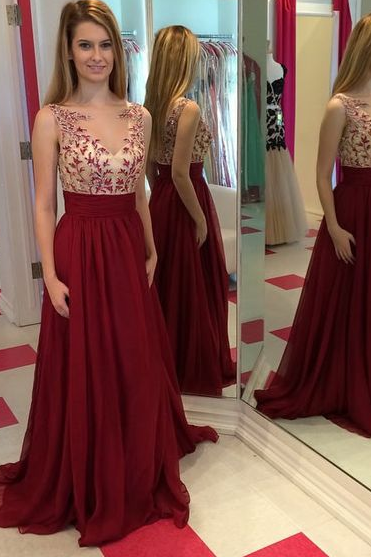 Applique Sleeveless Prom Dress, Wine Red Prom Dresses,Evening Dress