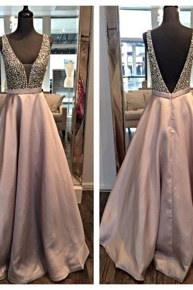 Sexy V-Neck Prom Dress,Backless Prom Dresses,Evening Dress
