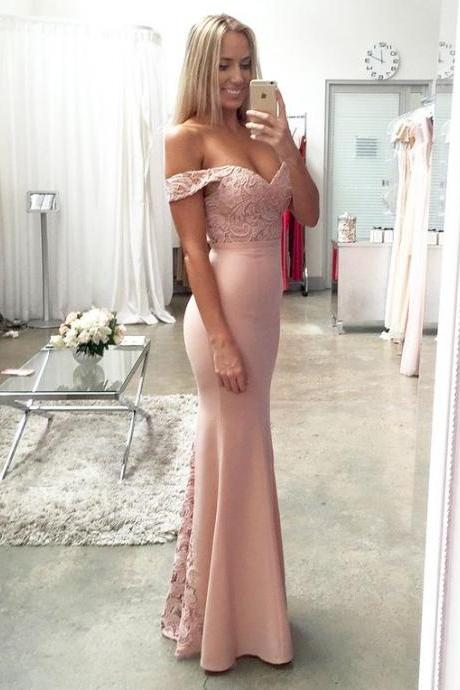Off Shoulder Lace Satin Pink Prom Dresses