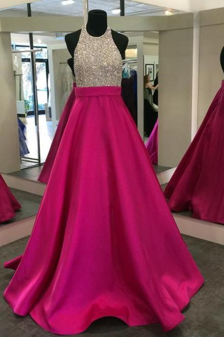 Sparkle Backless Hot Pink A-line Prom Dress