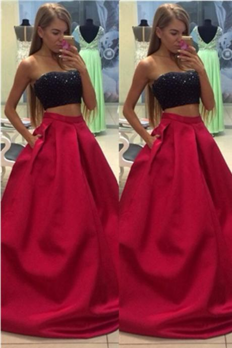 Two Piece Black Red Long Prom Dress