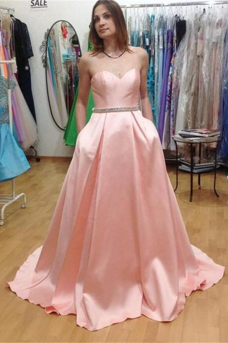 Sweetheart Strapless Pink Satin Prom Dress