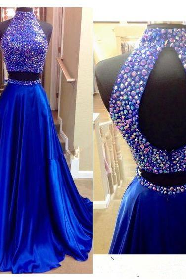 Two Pieces Royal Blue Prom Dress, High Neck Prom Dresses,Evening Dress