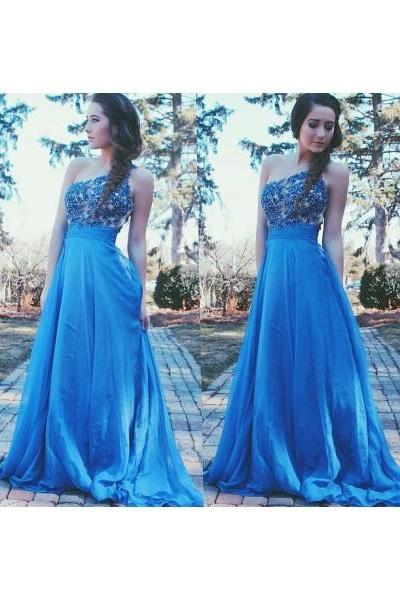 One Shoulder Blue Prom Dress,A-Line Chiffon Applique Prom Dresses