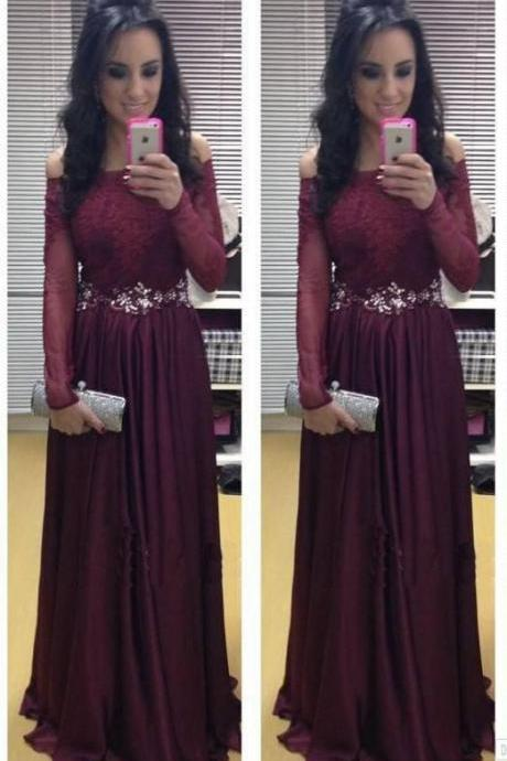 Long Sleeve Prom Dress,Off Shoulder A-Line Prom Dresses