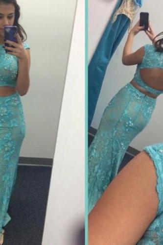 Blue Lace Prom Dress, Cap Sleeve Prom Dresses,Evening Dress