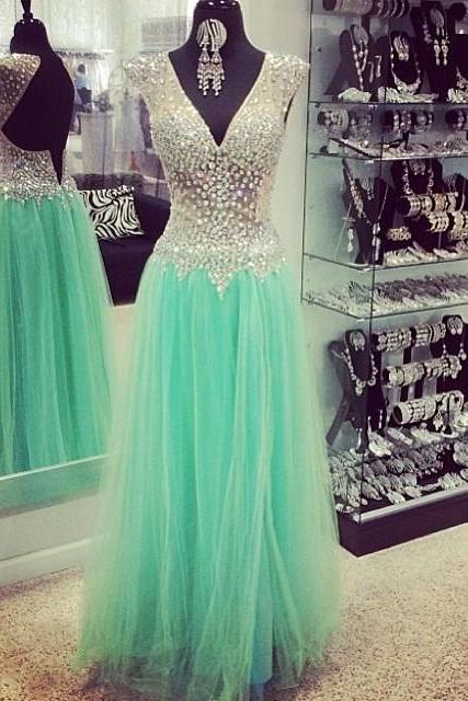 Backless Beading Prom Dress,Sleeveless Long Prom Dresses,Evening Dress