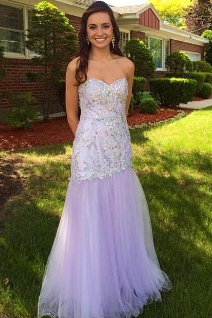 Light Purple Prom Dress,Strapless Prom Dresses,Evening Dress