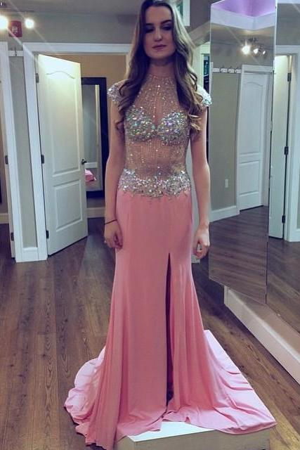 High Neck Prom Dress,Cap Sleeve Long Prom Dress