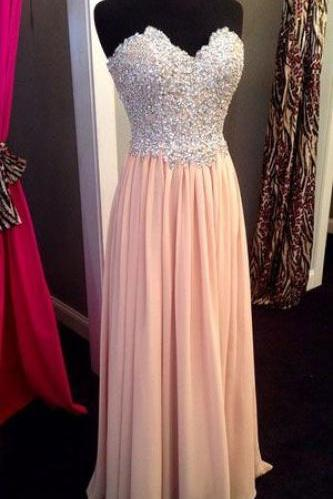 Pink Sparkly Prom Dress, Stapless A-Line Prom Dresses,Evening Dress
