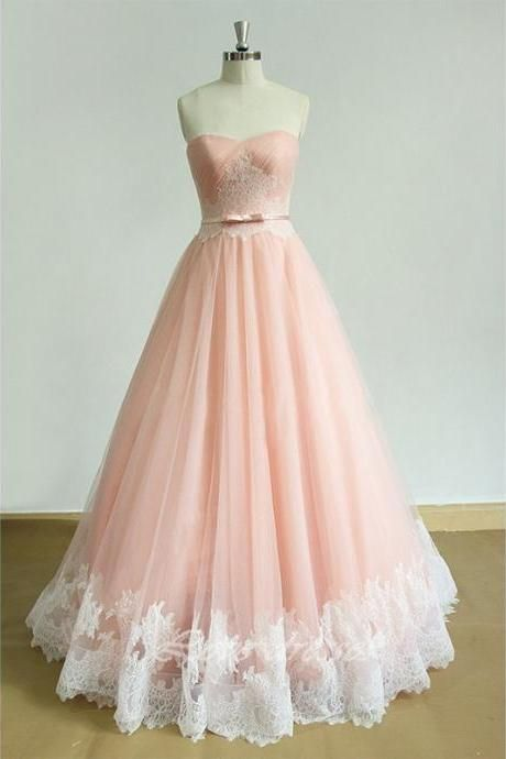 Strapless A-Line Prom Dress, Long Tulle Prom Dresses,Evening Dress