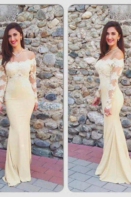 Long Sleeve Prom Dress,Sheath Lace Prom Dresses,Evening Dress