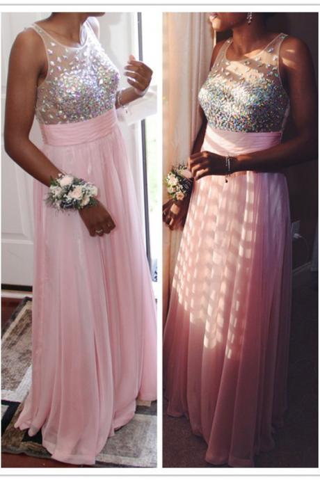 A-Line Pink Prom Dress,Chiffon Prom Dresses,Evening Dress