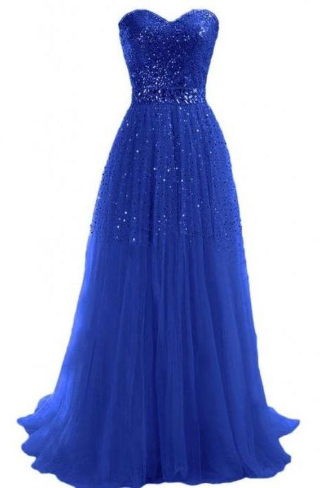 Sequined Strapless Prom Dress,A-Line Prom Dresses,Evening Dress