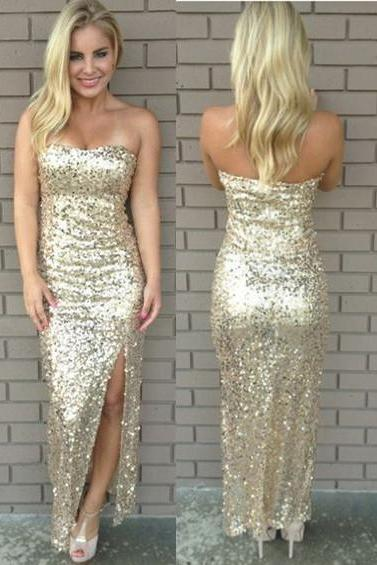 Strapless Slit Prom Dress,Sequins Prom Dresses,Evening Dress