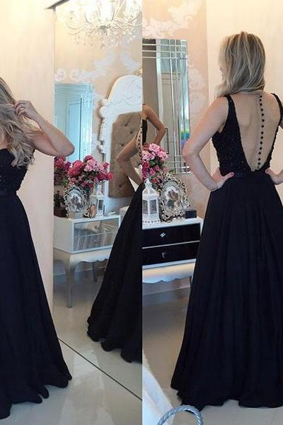 Backless Black Prom Dress,A-Line Prom Dresses,Evening Dress