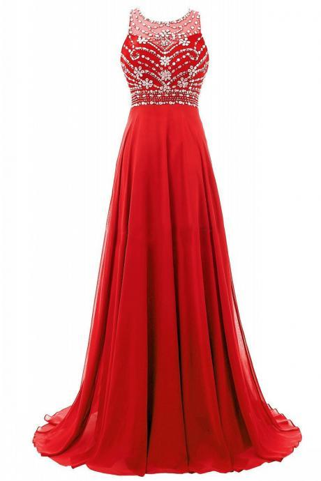 A-Line Chiffon Prom Dress,Red Beading Prom Dresses