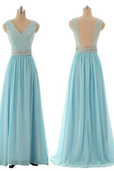 V-Neck Sleeveless Blue Prom Dress,A-Line Prom Dresses