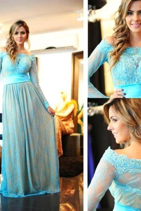 Long Sleeve Blue Lace Prom Dress,A-Line Prom Dresses