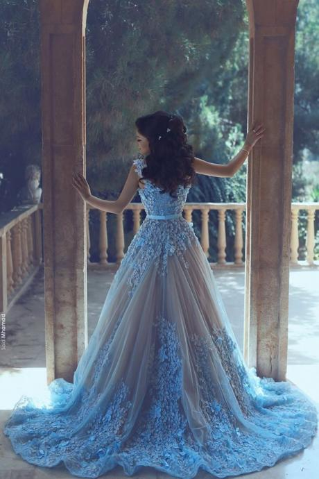Elegant Applique Long Prom Dress,Sleeveless Blue Prom Dresses