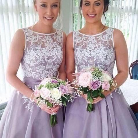 Purple Lace Homecoming Dress, A-line Short Bridesmaid Dresses