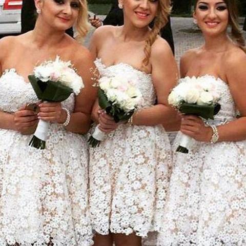 Ivory Lace Homecoming Dress, Sweetheart Cute Bridesmaid Dresses