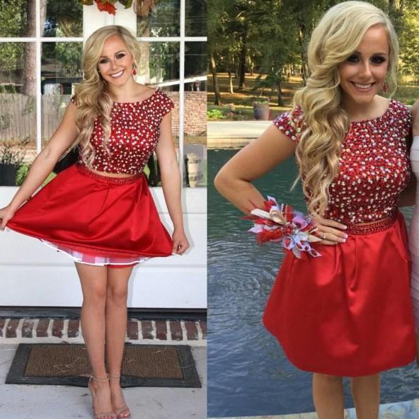 Red Two Pieces Homecoming Dress, Beaded Short Prom Dresses