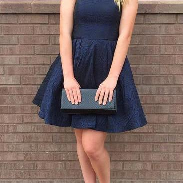 Navy Blue Halter Short Homecoming Dress
