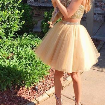 Yellow Two Pieces Tulle Short Homehoming Dress