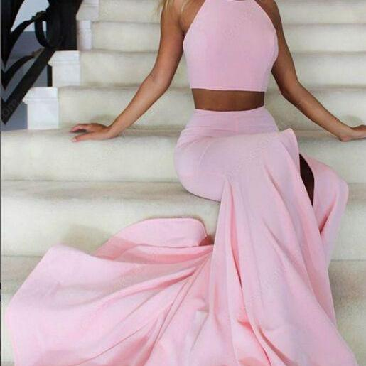 Two Piece Pink Prom Dresses, Pink Evening Dress