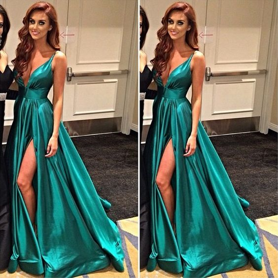 A Line Gree Prom Dress, Green Evening Dress