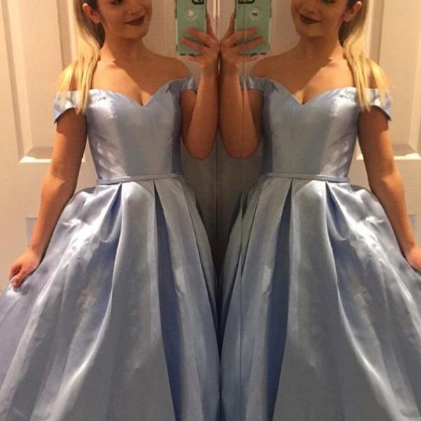 Long Off Shoulder Blue Prom Dress, Blue Evening Dresses