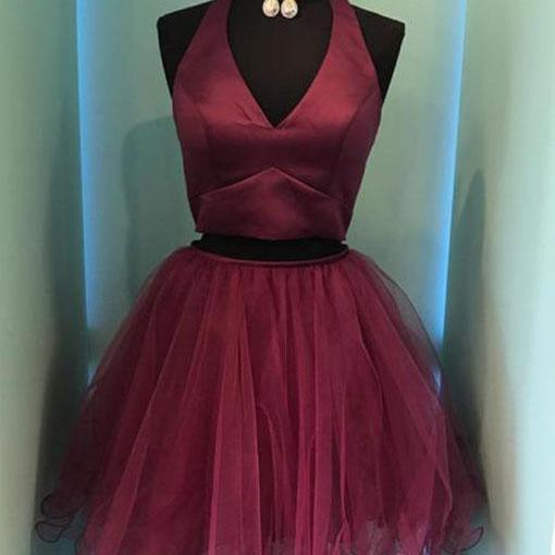 Burgundy V-neck Two Piece Tulle Homecoming Dresses
