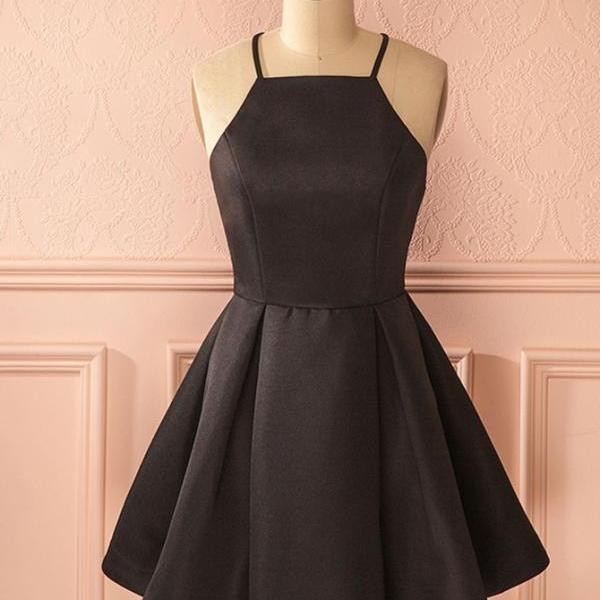 Black Square Neck Straps Pleated Stain Homecoming Dresses