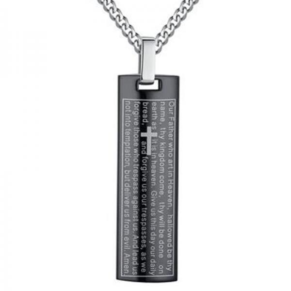 Fashion Stainless Steel Men's Lord's Prayer Necklace