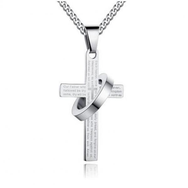Stainless Steel Men's Cross Necklace