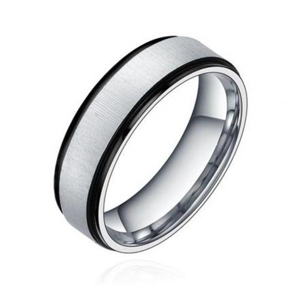 Fashion Stainless Steel Brushed Finish Two-tone Ring