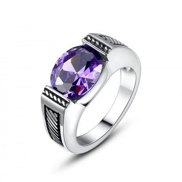 Stainless Steel Vintage Oval Amethyst Purple Cubic Zirconia Ring