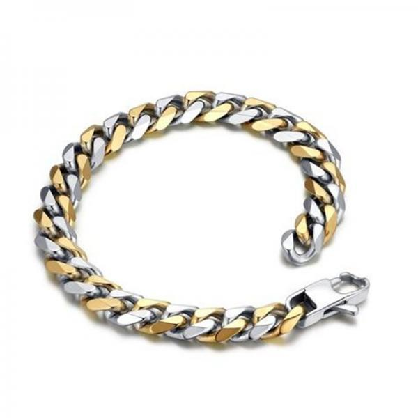 Stainless Steel Men's Two-tone Polished Curb Chain Bracelet