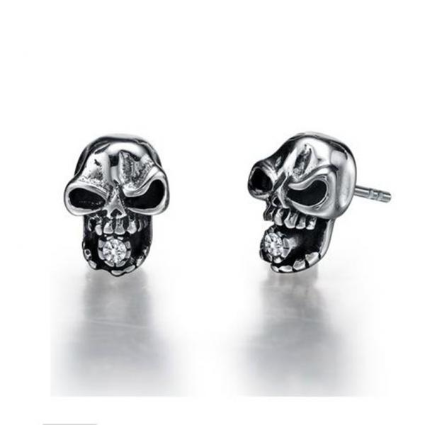 Stainless Steel Gothic Skull W. Cubic Zirconia Stud Earrings