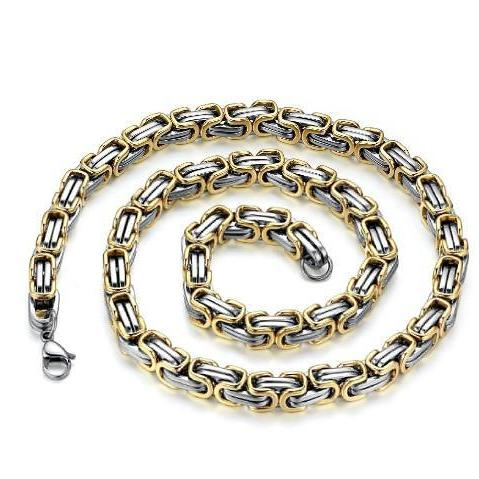 Stainless Steel Men's Biker Heavy 9mm Mechanic Link Chain Golden Necklace